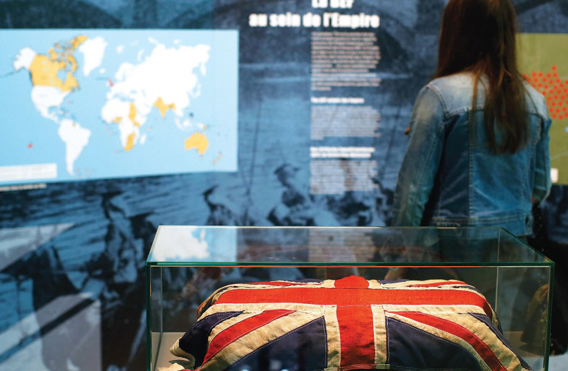 A BRITISH flag at an exhibit focusing on the First World War. (photo credit: REUTERS)
