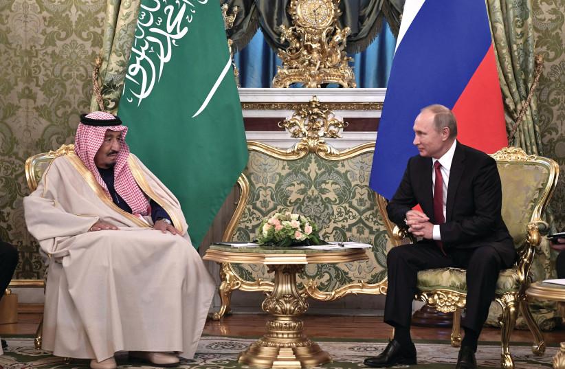 Rencontre au Kremlin, le 5 octobre, entre Vladimir Poutine et le roi d'Arabie Saoudite, Salman Ben Abdul Aziz (photo credit: REUTERS)