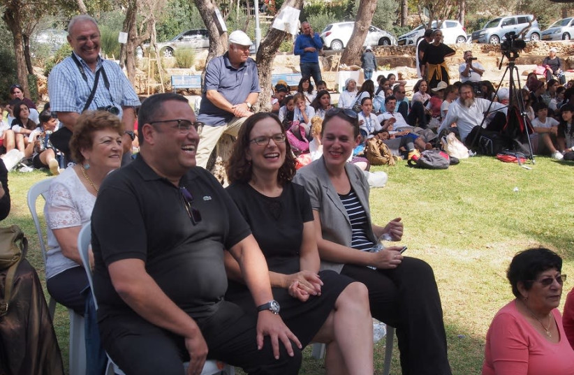 """MK Rachel Azaria, Jerusalem Municipal Council member and head of the Communal Administrations portfolio Moshe Leon, and Ramot Communal Administration head Esti Kirmayer attended the Land of the Bible Park."" (photo credit: GAL YONAH)"