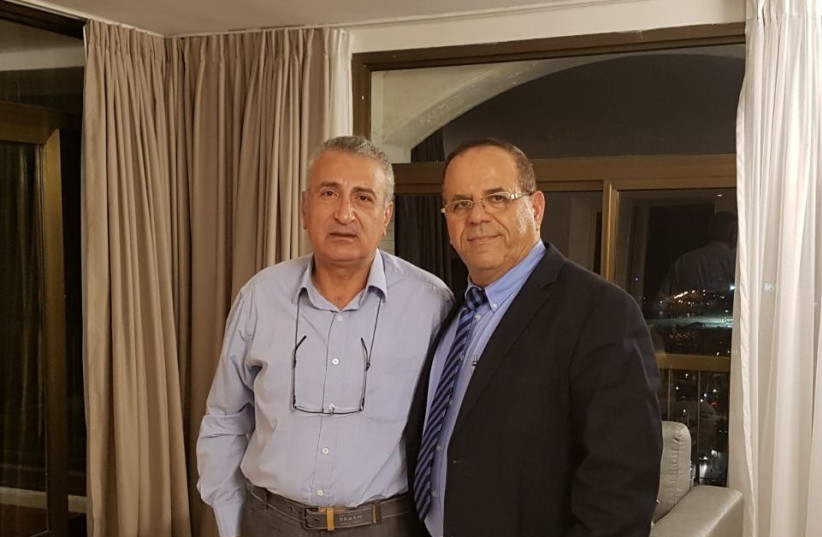 Communications Minister Aoub Kara meets with Syrian opposition leader Kamal Laboani in Jerusalem (photo credit: COURTESY/MINISTRY OF COMMUNICATIONS)