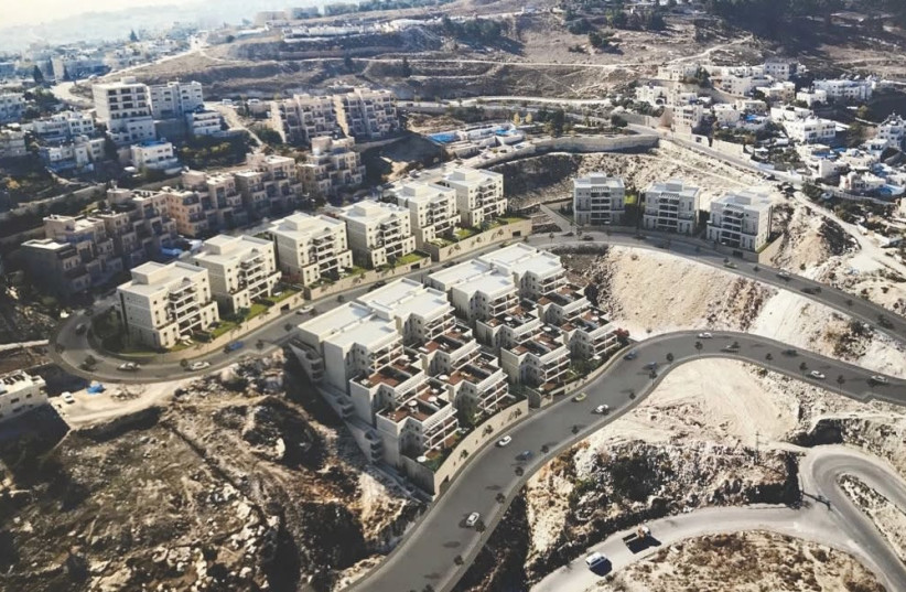 An artist's rendering approximates what an aerial view of the new housing units recently approved for Nof Zion will look like. (photo credit: JERUSALEM MUNICIPALITY)