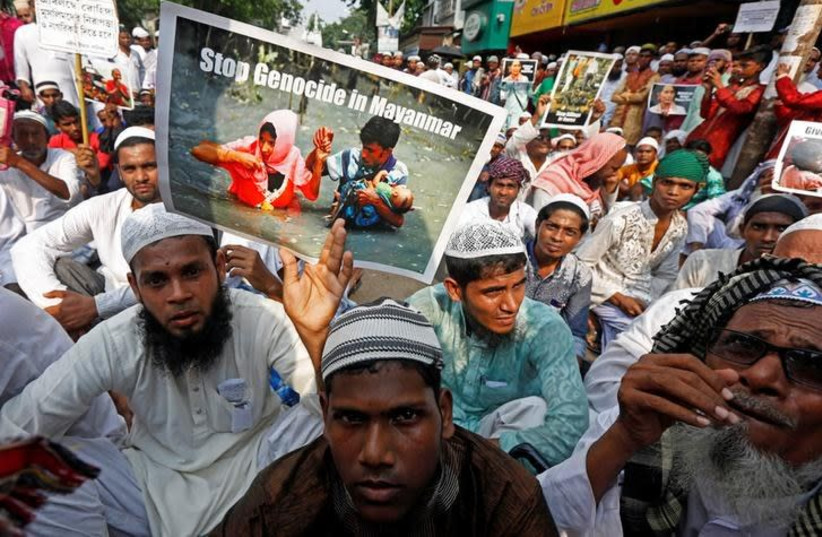 Demonstrators attend a protest against what they say are killings of Rohingya people in Myanmar, in Kolkata, India, October 24, 2017.  (photo credit: REUTERS/RUPAK DE CHOWDHURI)