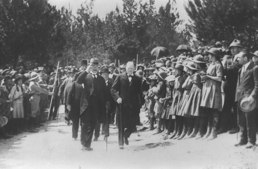 British Home Secretary Winston Churchill is escorted by High Commissioner Herbert Samuel, in Jerusalem during the British mandate era.  (photo credit: Wikimedia Commons)