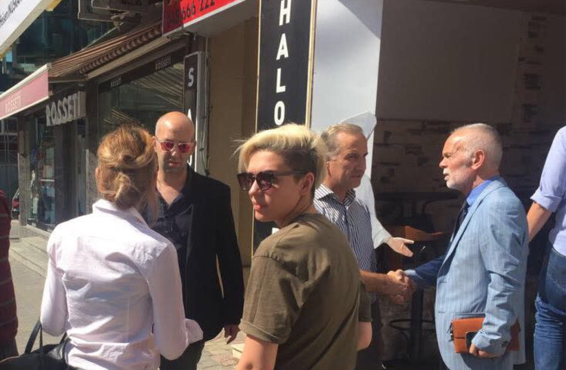 Moshe Klughaft (second from left) on the campaign trail with the New Kosovo Alliance. (photo credit: Courtesy)