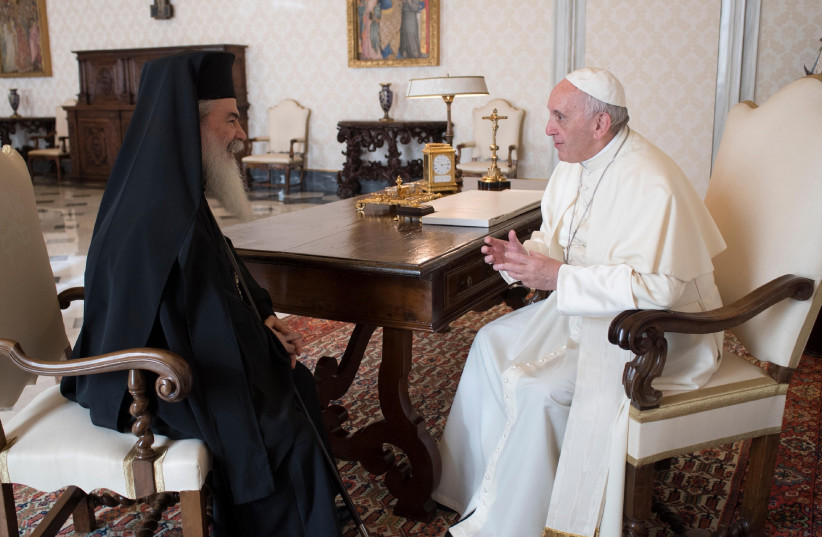 Pope Francis meets with Theophilos III Greek Patriarch of Jerusalem at the Vatican (photo credit: Courtesy)