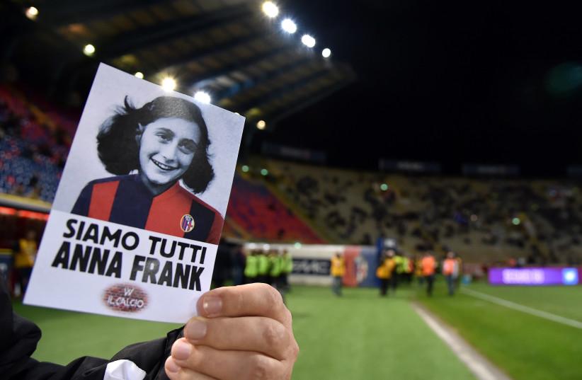 Soccer Football - Serie A - Bologna vs Lazio - Stadio Renato Dall'Ara, Bologna, Italy - October 25, 2017 Picture of Anne Frank ahead of the match (photo credit: REUTERS/ALBERTO LINGRIA)