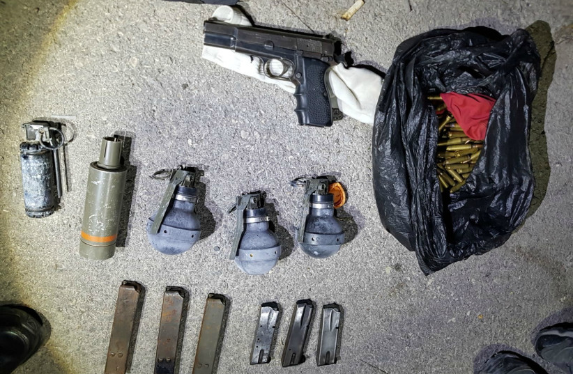 Illegal weapons found in an east Jerusalem home by Israeli Police, October 26, 2017.  (photo credit: POLICE SPOKESPERSON'S UNIT)