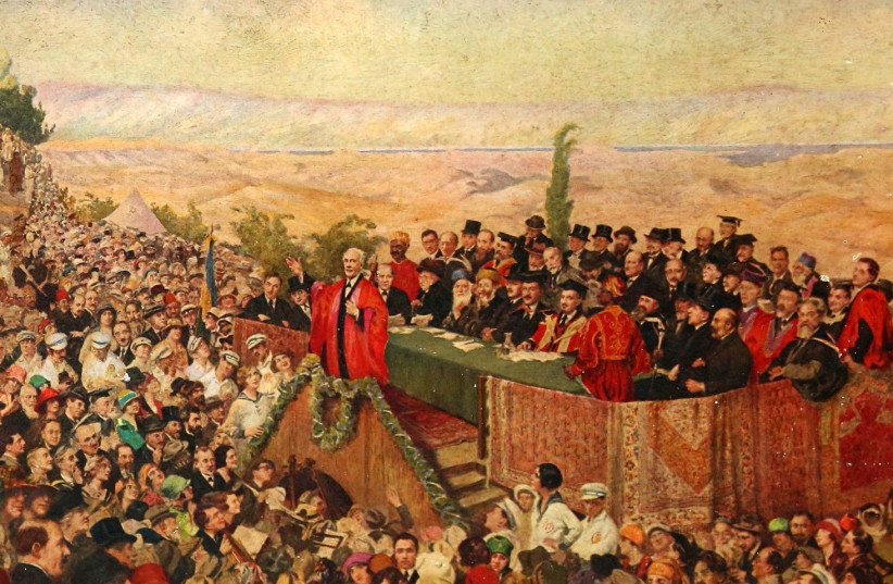 Lord Balfour declares the Hebrew University of Jerusalem open in painting by Leopold Pilichowski (photo credit: COURTESY HEBREW UNIVERSITY)
