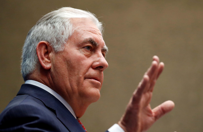 United States Secretary of State Rex Tillerson  (photo credit: REUTERS/ALEX BRANDON/POOL)