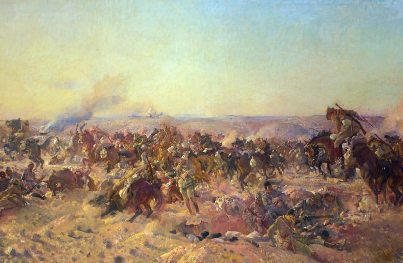 The charge of the Austrlian light horse at Beersheba 1917 George Lambert (photo credit: WIKIPEDIA)