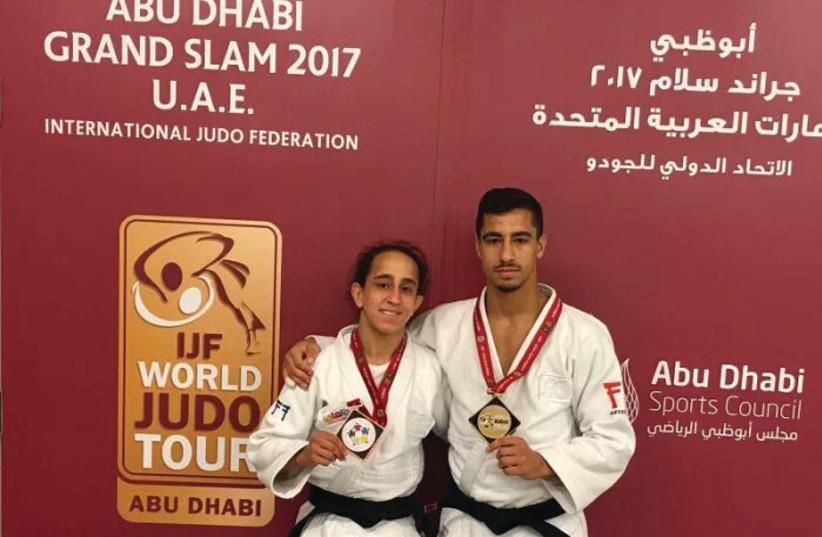 Israeli Judokas Tal Flicker (right) and Gili Cohen (left) (photo credit: IJF/ COURTESY)