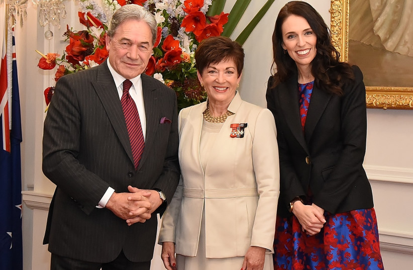 New Zealand's Patsy Reddy with Jacinda Ardern and Winston Peters. (photo credit: GOVERNOR GENERAL OF NEW ZEALAND [CC BY 4.0] / WIKIMEDIA COMMONS)