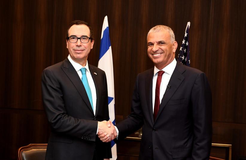 Secretary of the Treasury Steve Mnuchin and Finance Minister Moshe Kahlon (photo credit: MATTY STERN/US EMBASSY TEL AVIV)