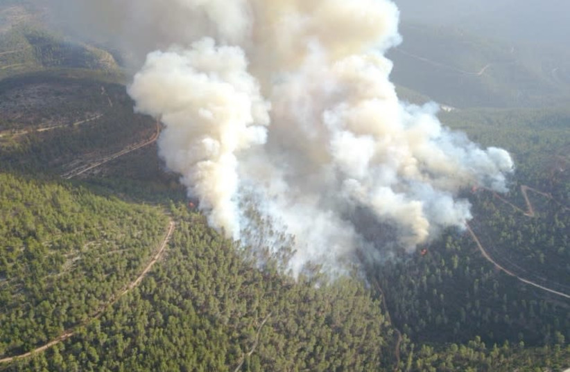 Forest fire on Har Eitan, next to Jerusalem. (photo credit: POLICE SPOKESPERSON'S UNIT)