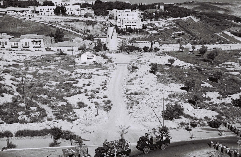 British vehicles in Jerusalem near Mount Zion on the eve of Israel's independence.  (photo credit: REUTERS)