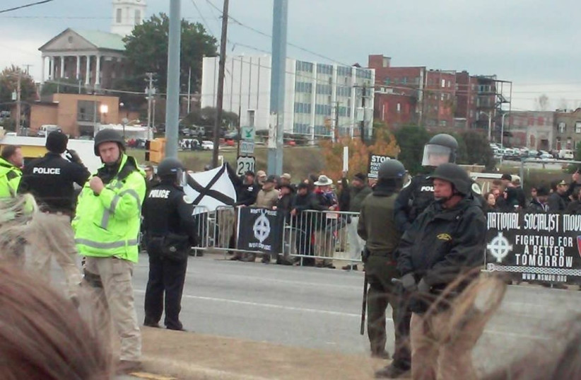 A white supremacist rally in Shelbyville, Tennessee.. (photo credit: Courtesy)