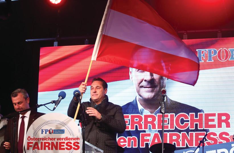 Heinz-Christian Strache, leader du FPÖ, lors du dernier meeting électoral le 13 octobre (photo credit: REUTERS)