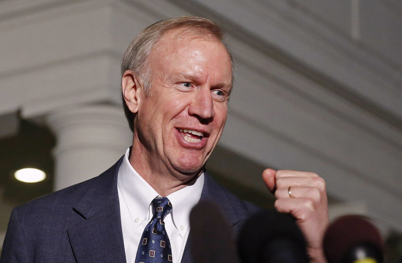Illinois Governor Bruce Rauner (photo credit: LARRY DOWNING/REUTERS)