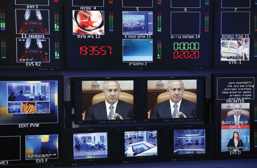 Israeli television control room (photo credit: REUTERS)