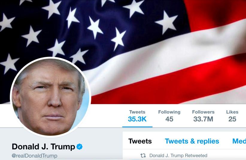 The masthead of U.S. President Donald Trump's @realDonaldTrump Twitter account is seen on July 11, 2017. (photo credit: @REALDONALDTRUMP/HANDOUT/FILE PHOTO VIA REUTERS)