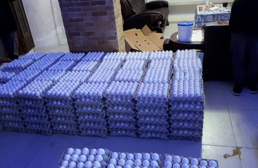 Israeli police captured unregulated eggs in Nazareth  (photo credit: POLICE SPOKESPERSON'S UNIT)