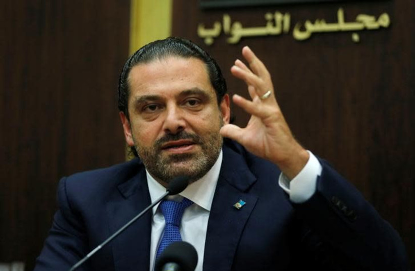 Lebanon's prime minister Saad al-Hariri gestures during a press conference in parliament building at downtown Beirut, Lebanon October 9, 2017. (photo credit: REUTERS/MOHAMED AZAKIR)