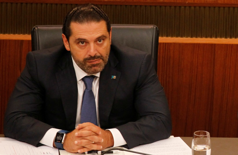 Lebanon's Prime Minister Saad al-Hariri attends a general parliament discussion in downtown Beirut, Lebanon October 18, 2017. (photo credit: MOHAMED AZAKIR / REUTERS)