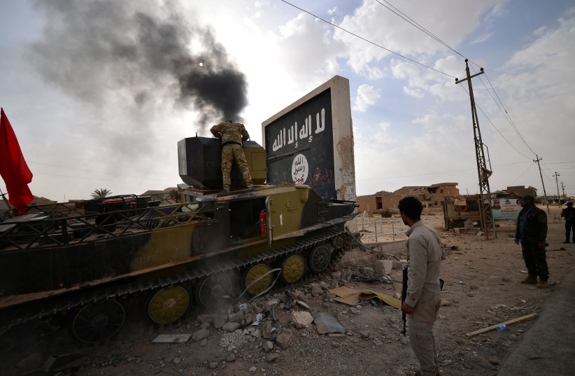Shi'a Popular Mobilization Forces (PMF) fighter looks inside an armored vehicle after liberating the city of Al-Qaim, Iraq (photo credit: REUTERS/STRINGER)