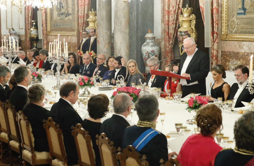 President Reuven Rivlin delivers remarks at a state dinner in Madrid, Spain, November 6, 2017. (photo credit: HAIM ZACH/GPO)