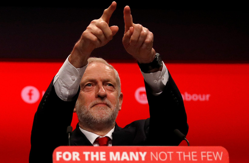 Britain's opposition Labour Party leader Jeremy Corbyn acknowledges his audience prior to giving his keynote speech at the Labour Party Conference in Brighton, Britain, September 27, 2017. (photo credit: REUTERS)