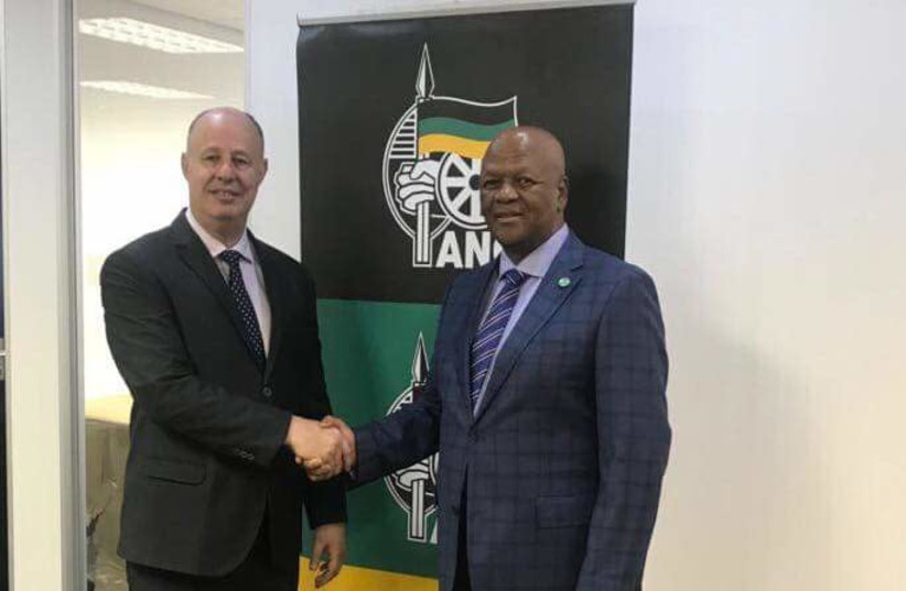 Regional Cooperations Minister Tzachi Hanegbi meets yesterday withJeff Radebe, Minister in the South African presidential office in Johannesburg, South Africa. (Facebook) (photo credit: FACEBOOK)