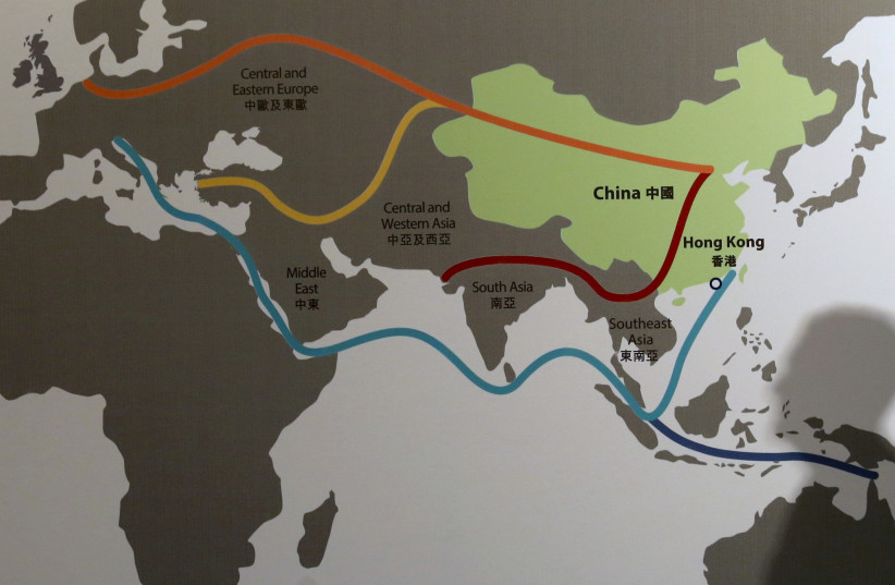 A map of China's One Belt, One Road initiative (photo credit: BOBBY YIP/ REUTERS)