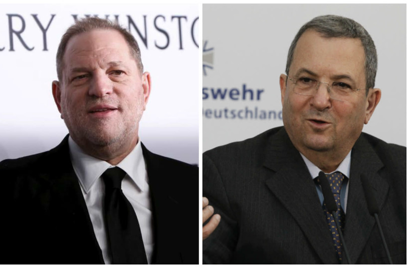 A compilation photo of Harvey Weinstein and Ehud Barak (photo credit: REUTERS FILE PHOTOS)