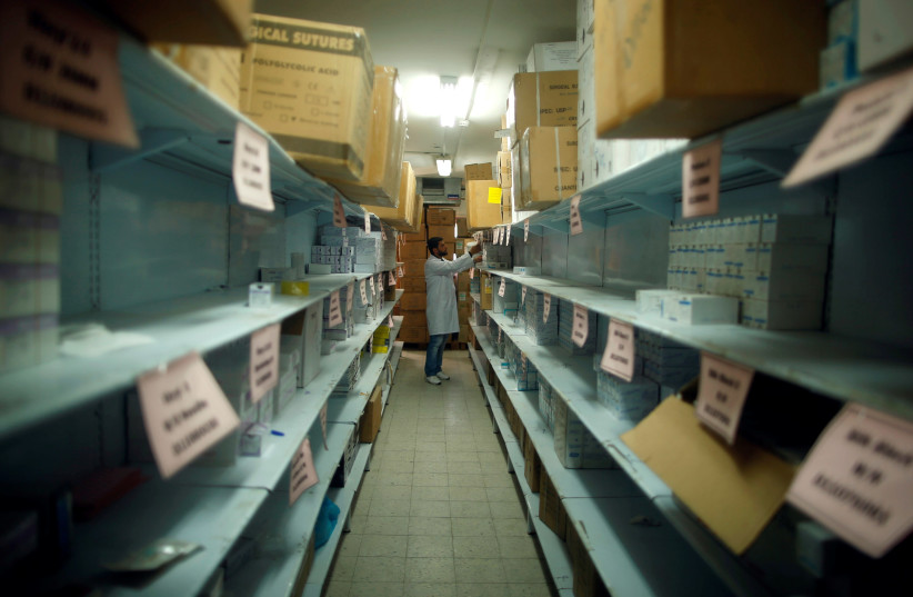 A medical warehouse in Gaza (photo credit: MOHAMMED SALEM/ REUTERS)