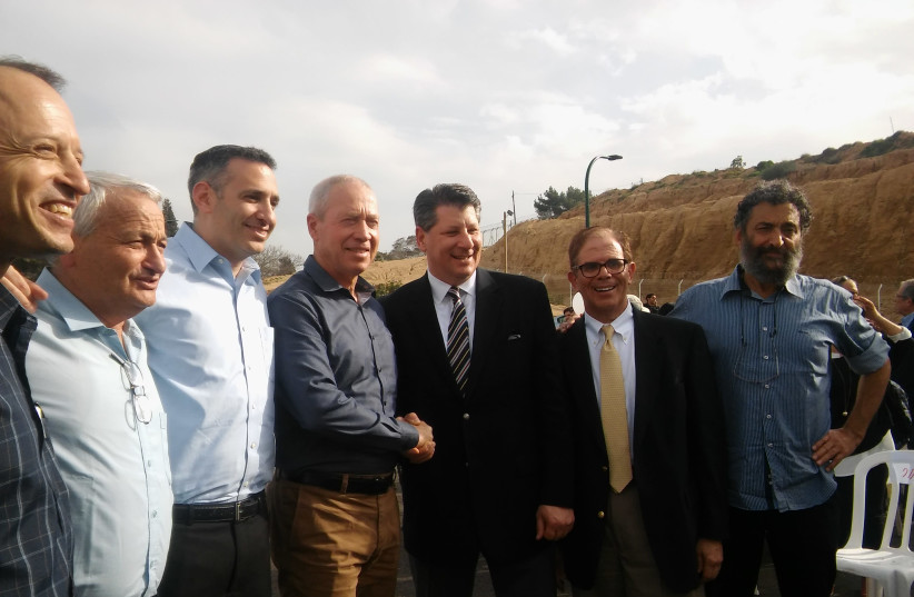 JNF-USA's Groundbreaking of a new neighborhood in Kibbutz Erez last March with Construction Minister Yoav Gallant, the organization's Chief Development Officer Rick Krosnick, Chief Israel Officer Eric Michelson and Assistant Vice President of Campaign, Ken Segel (photo credit: JNF-USA)
