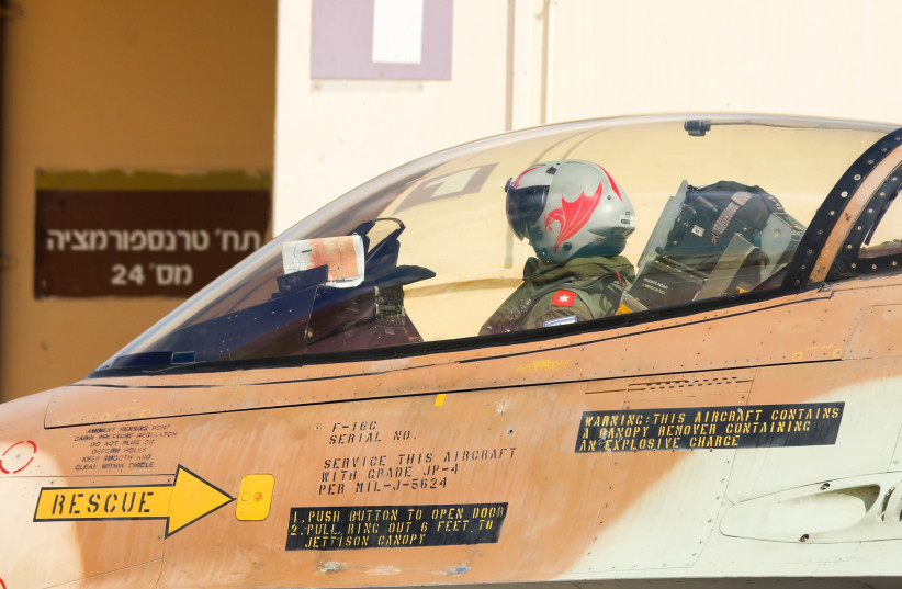 Pilot in Israel Air Force gets ready for take off (photo credit: ANNA AHRONHEIM)