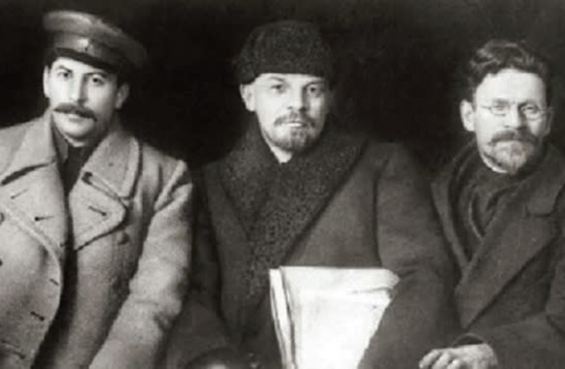 FROM LEFT, Joseph Stalin, Vladimir Lenin and Leon Trotsky. (photo credit: WIKIPEDIA)