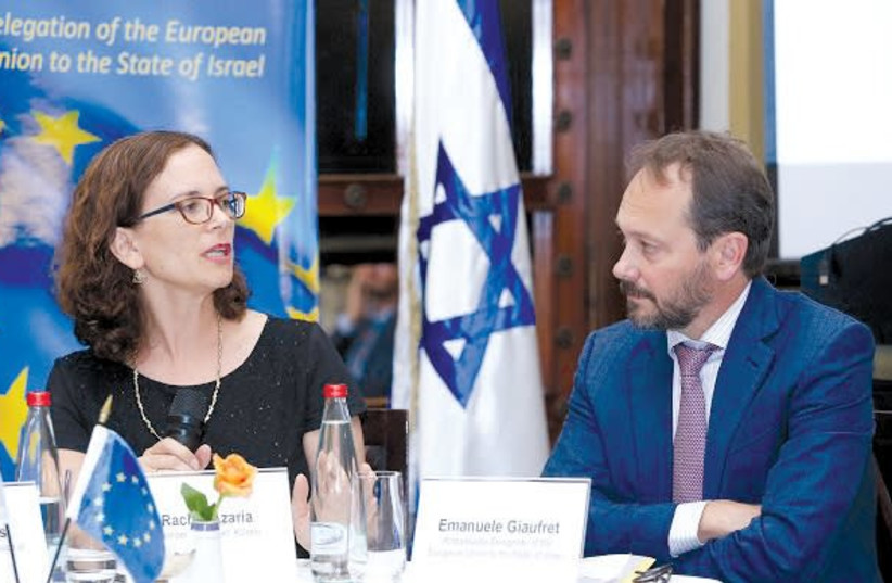 MK RACHEL AZARIA and EU Ambassador Emanuele Giaufret attend the EU-IASEI Annual Conference. (photo credit: Courtesy)
