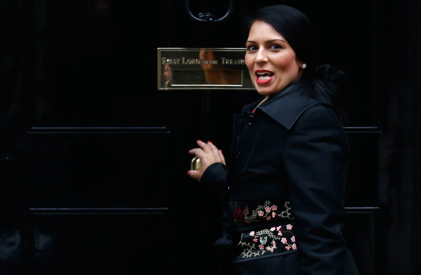 Britain's former Secretary of State for International Development Priti Patel arrives in Downing Street for a cabinet meeting, in London, November 15, 2016. (photo credit: REUTERS)