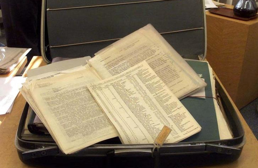 A siutcase belonging to Oskar Schindler with the original copy of a list of over 1,200 Polish Jews known as Schindler's List is shown in Stuttgart, Germany (photo credit: MICHAEL DALDER/REUTERS)