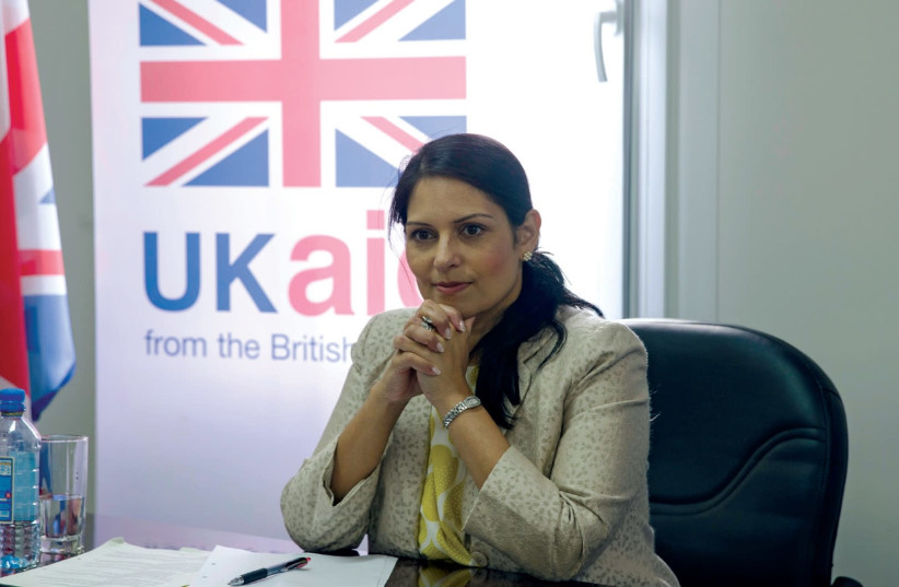 British International Development Secretary Priti Patel attends a meeting with representatives from humanitarian aid agencies in Mogadishu, Somalia. (photo credit: REUTERS)
