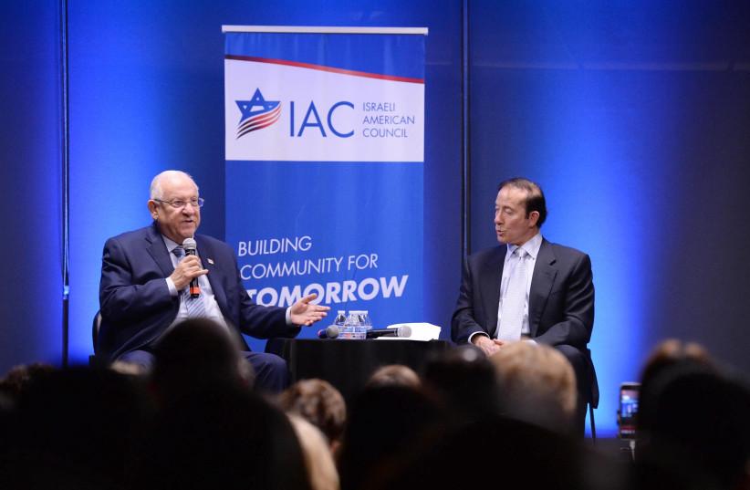President Reuven Rivlin addresses American Israelis in Los Angeles. (photo credit: MARC NEYMAN/GPO)