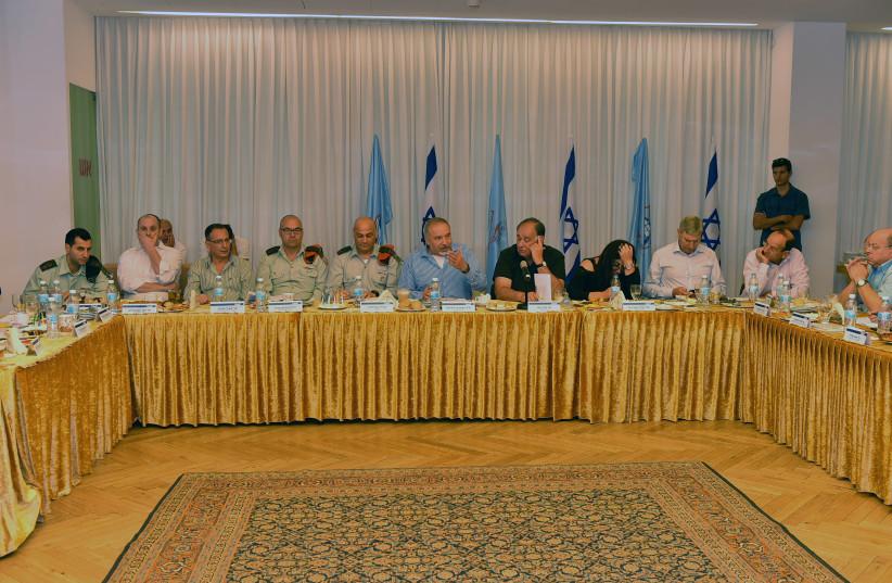 Defense Minister Avigdor Liberman addresses a meeting of local officials in Haifa. (photo credit: ARIEL HERMONI / DEFENSE MINISTRY)