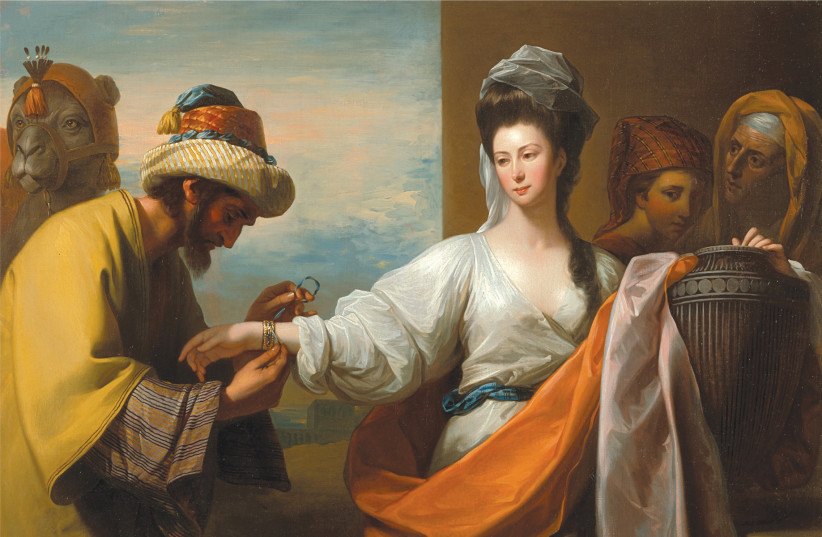 ISAAC'S SERVANT tying a bracelet on Rebekah's arm in this 1775 work by Anglo-American history painter Benjamin West (photo credit: Wikimedia Commons)
