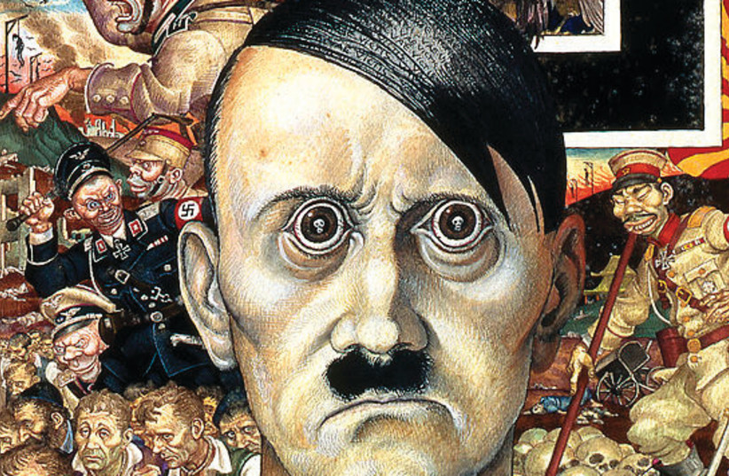 Szyk's 'Anti-Christ' portrayal of Hitler as the embodiment of evil: his eyes reflect human skulls, his black hair the Latin words, 'Vae Victis' (woe to the vanquished) (photo credit: FINE ART PRINT)