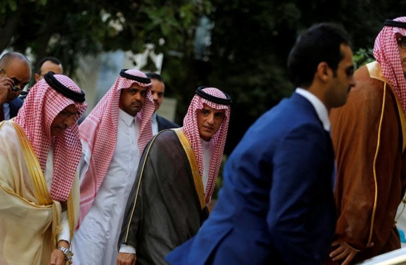 Saudi Arabia's Foreign Minister Adel al-Jubeir arrives at the Arab Foreign Ministers meeting at the request of Saudi Arabia, in Cairo, Egypt, November 19, 2017 (photo credit: REUTERS/AMR ABDALLAH DALSH)