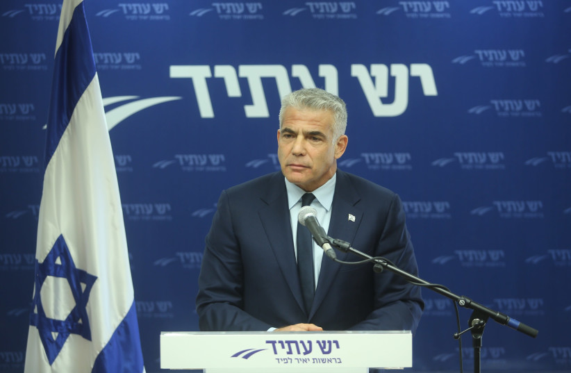 Yesh Atid Chairman Yair Lapid speaks at a press conference, November 2017 (photo credit: MARC ISRAEL SELLEM/THE JERUSALEM POST)