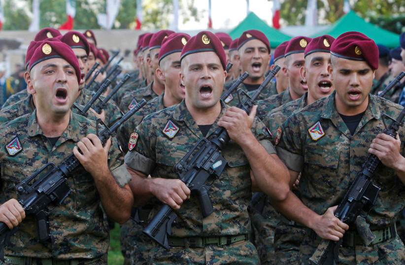 Lebanese army soldiers take part in a parade at a military academy marking the 72nd Army Day in Fayadyeh, near Beirut (photo credit: REUTERS)