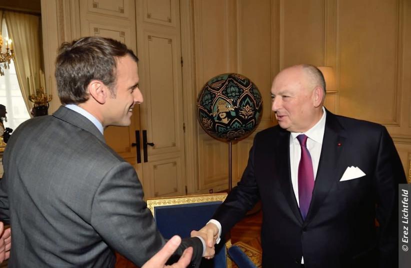 President Emmanuel Macron meets EJC President Dr. Moshe Kantor in Paris, November 2017 (photo credit: EREZ LICHTFELD)