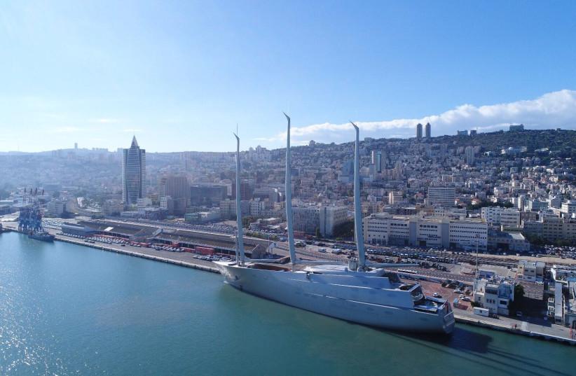 Mega Yacht docks in Haifa (photo credit: GEODRONES)